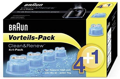 Braun CleanundCharge Reinigungskartuschen (Promo-Pack 4 + 1 gratis für die Reinigungsstation und für Braun Series 3-9 Elektrorasierer)