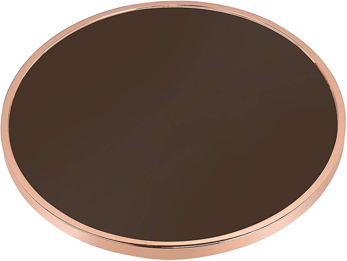 Smoky Glass /& Rose Gold Q-Max SH1625 Round Coffee Table