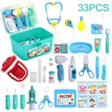 Kids Toys Doctor Kit with 33 Pieces Dentist's Equipment, Durable Medical Kit Pretend Holiday/Birthday Gift for Kids, Packed in a Sturdy Gift Case