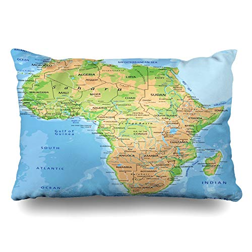 Ahawoso Decorative Throw Pillow Cover King 20x36 African High Detailed Africa Physical Map Labeling Abstract Continent Madagascar South Relief Atlas Zippered Pillowcase Home Decor Cushion Case (Physical Geography Of Africa South Of The Sahara)