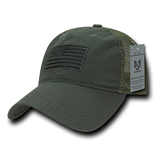 Rapid Dominance Soft Fit American Flag Embroidered Cotton Trucker Mesh Back Cap - (Trucker Green)