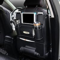 PU Leather Car Seat Back Organizer and iPad mini Holder Bag, Universal Backseat Storage for Cellphones, Bottles, Books, Tissue Box, Kids' Toys, Umbrella