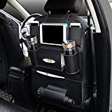 PU Leather Car Seat Back Organizer with Holder Bag for iPad Mini, Universal Backseat Storage for Cellphones, Bottles, Books, Tissue Box, Kids' Toys, Umbrella
