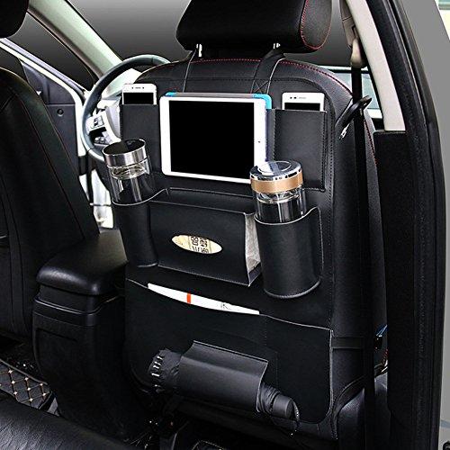 PU Leather Car Seat Back Organizer with Holder Bag for iPad Mini, Universal Backseat Storage for Cellphones, Bottles, Books, Tissue Box, Kids Toys, Umbrella