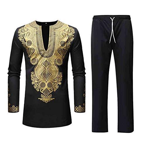 VEZAD Men Tracksuit Autumn Spring Luxury African Print Long Sleeve Dashiki Shirt Suit ()