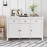 Console Sideboard Table, HOMEMAKE Mordern Buffet Cabinet Server Table 3 Drawers & 3 Cabinets, Kitchen Dining Room Furniture (White)