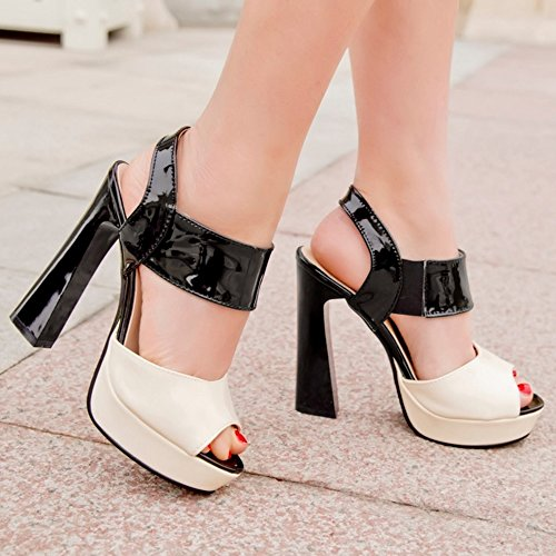 TAOFFEN Femmes Peep Toe Sandales Soiree Mode Bloc Talons Hauts Plateforme Multicolore Slingback Chaussures Noir R7QWVCPB