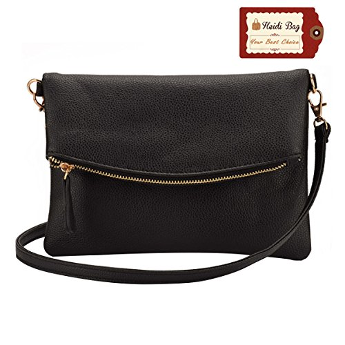 Heidi Bag Small Soft Leather Shoulder Crossbody Bag Zipper Clutch Phone Wallet Purse ()