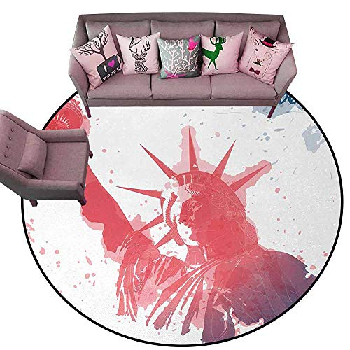Corridor Rug Colorful 4th of July,Watercolor Lady Liberty Silhouette with Paint Splashes Independence,Dark Coral Pale Blue Diameter 54