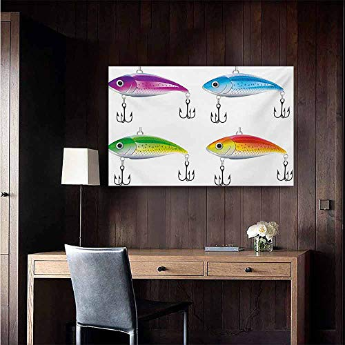 (duommhome Fishing Abstract Painting Collection of Fishing Lures in Trout Shape Trap for Sea Mammals Creatures Picture Natural Art 20