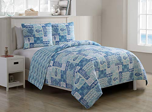 VCNY Home Patchwork Sealife Polyester 3 Piece Quilt Set, SUPER SOFT Quilt Set, Wrinkle Resistant, Hypoallergenic Bed Set, King, Blue. (Patchwork Quilt Nautical)