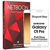 NETBOON Samsung Galaxy C9 Pro Original 3D Tempered Glass Full Screen Adhesive(Glue) Edge to Edge Screen Protector HD Clear Smooth Touch Gorilla Glass Guard for Samsung C9 Pro - White