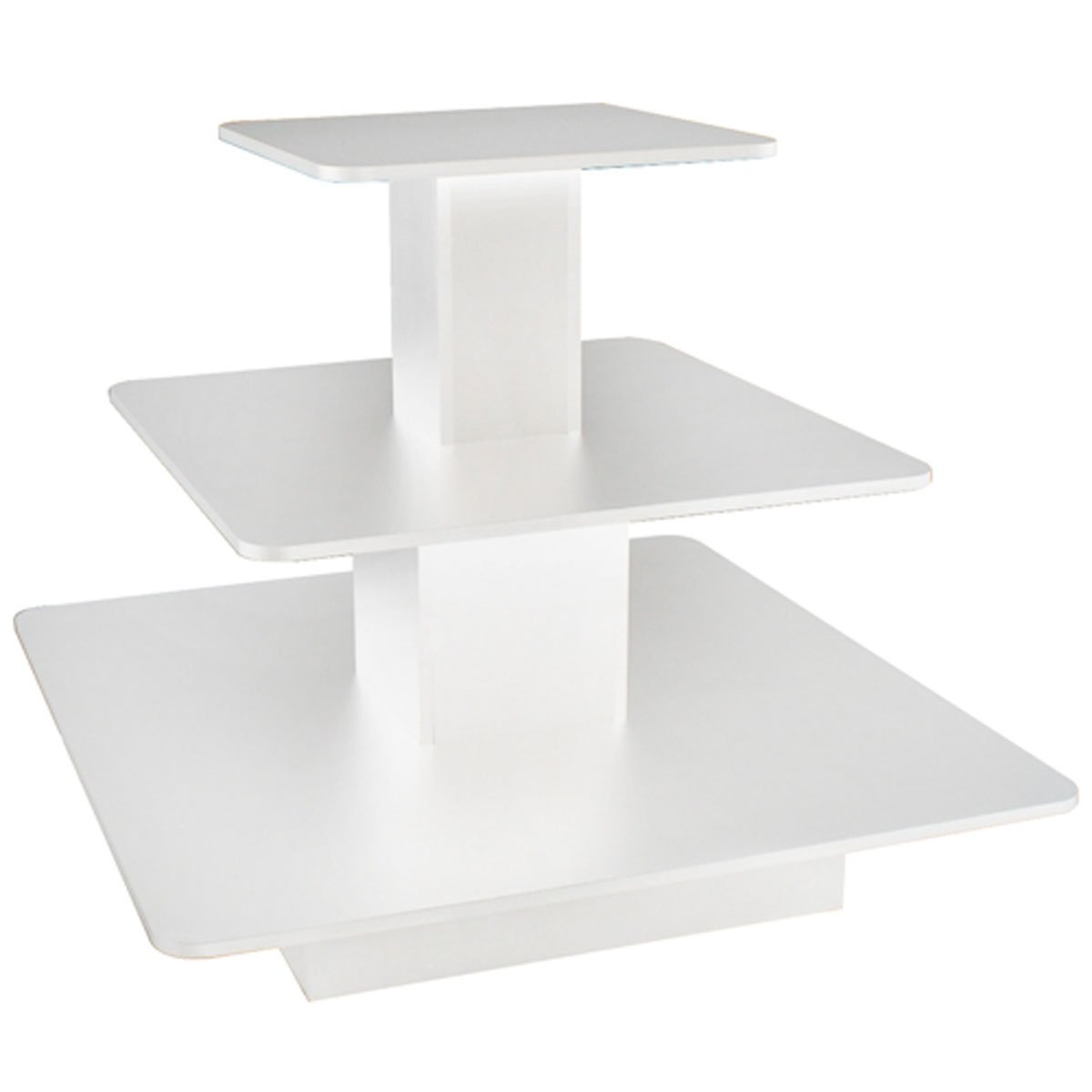 3 Tier Display Table Square Boutique Clothing Store Wood Fixture White New