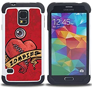 - zombie heart stiches red drawing art sign/ H??brido 3in1 Deluxe Impreso duro Soft Alto Impacto caja de la armadura Defender - SHIMIN CAO - For Samsung Galaxy S5 I9600 G9009 G9008V