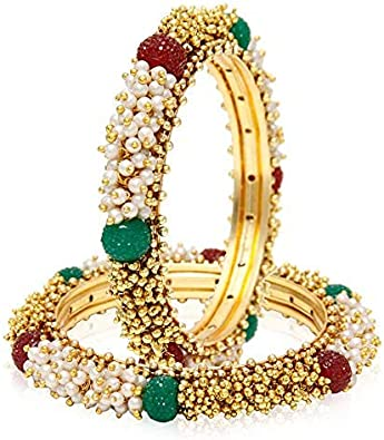 for Women 4 Pieces Efulgenz Fashion Jewelry Indian Bollywood 14 K Gold Plated Cubic Zirconia Bracelets Bangle Set