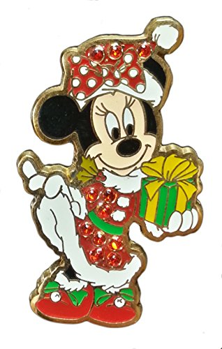 Disney Pin - Santa Minnie with Present - Jeweled