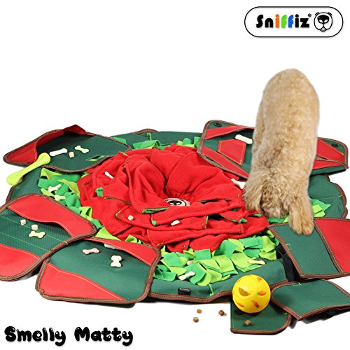 SNiFFiz SmellyMatty Snuffle Mat for Dogs – Interactive Food Puzzle Toys Package ( Large Nosework Blanket + 5 Treat Puzzles ) – Slow Feeding Games with Stress Relief for Boredom