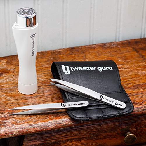 Tweezers Set 4-piece – Tweezer Guru Stainless Steel Slant Tip and Pointed Eyebrow Tweezer Set – Great Precision for…