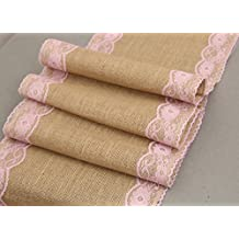 Crazy Night Burlap Lace Table Runner Jute Wedding Party Table Decoration (pink)