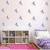 32 pieces /Set Kids Unicorn Little Horse Wall Decal- Girls and Boyes Bedroom Art Vinyl Unicorn Animal Wall Sticker-Removable Home Wall Decor Adesivo for Kids Nursery (Light Purple)