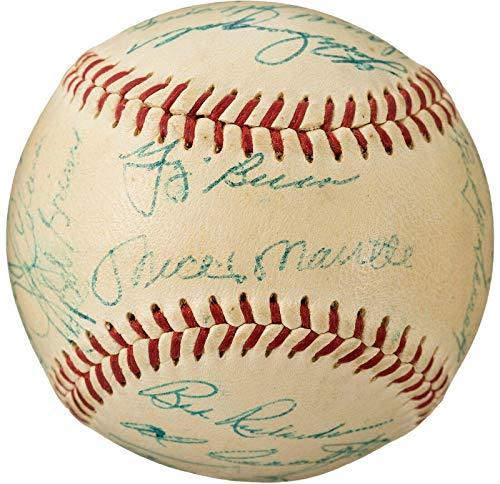 Fine 1957 Yankees Team Signed OAL Baseball (25) Mickey Mantle Casey Stengel - JSA Certified - Autographed Baseballs