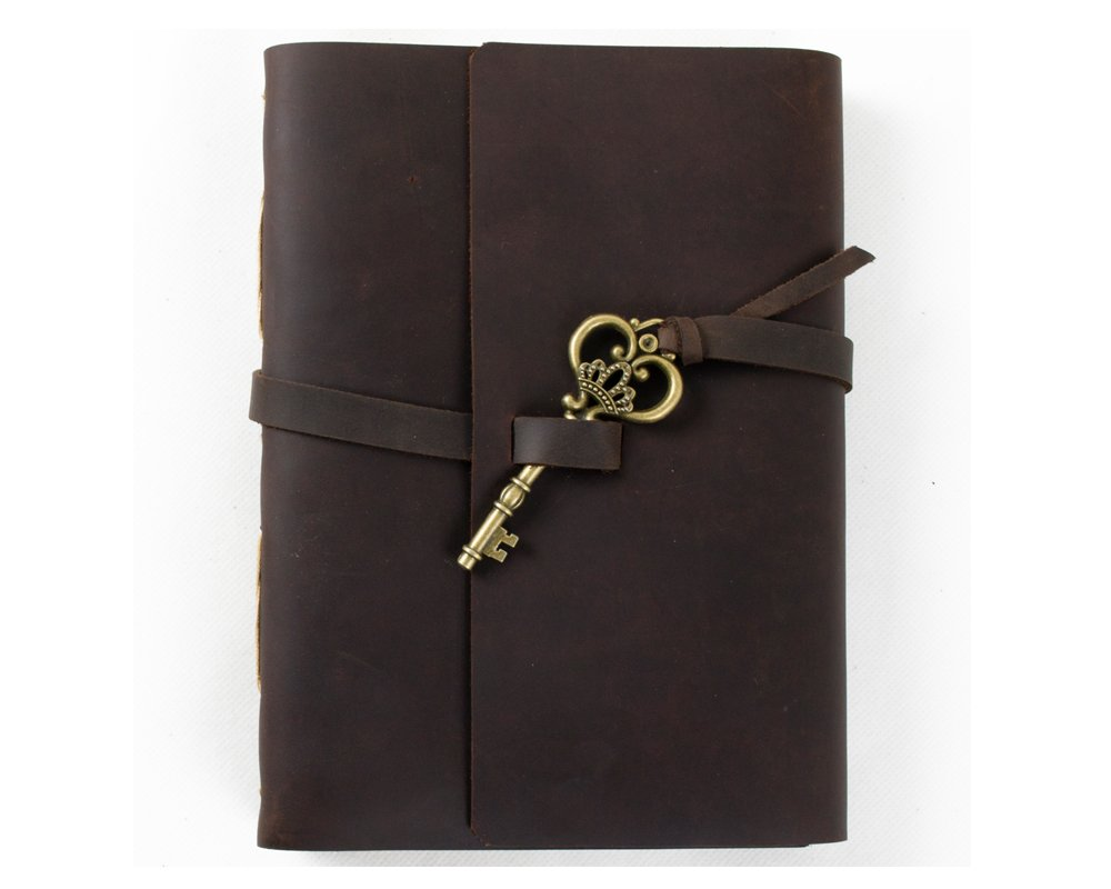Ancicraft Leather Journal Diary Notebook A5 with Key by Handmade Blank Craft Paper with Gift Box (A5-Key-Blank craft paper)