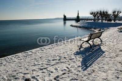 Harbour Konstanz Bodensee Winter Snow 5039183 Canvas 60 X 40
