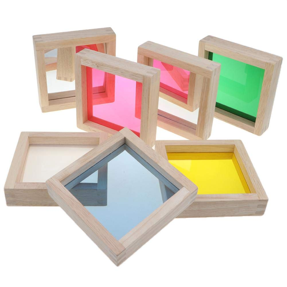 Baby Mirror Baby Toddler Wooden Toys - 7 Pieces Rainbow Mirror Blocks Stacking Blocks