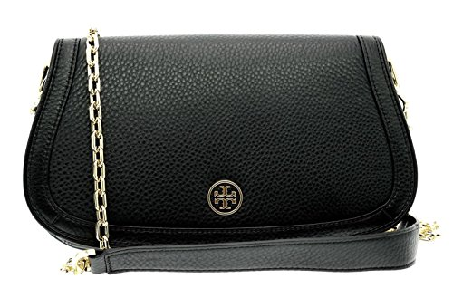 Logo Leather Burch Chain Clutch Black Landon Tory AqFzH7wx