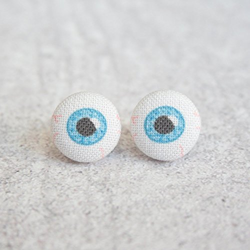 Blue Eyes Fabric Button Earrings -