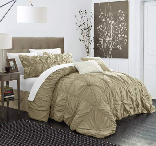 Chic Home Halpert 6 Piece Comforter Set Floral Pinch Pleated Ruffled Designer Embellished Bedding with Bed Skirt and Decorative Pillows Shams Included, King Taupe