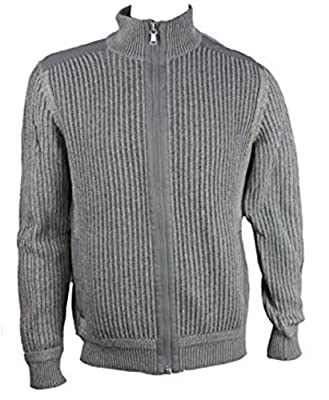 Calvin Klein Men's Knit Full Zip Sweater Puddle Grey - XL