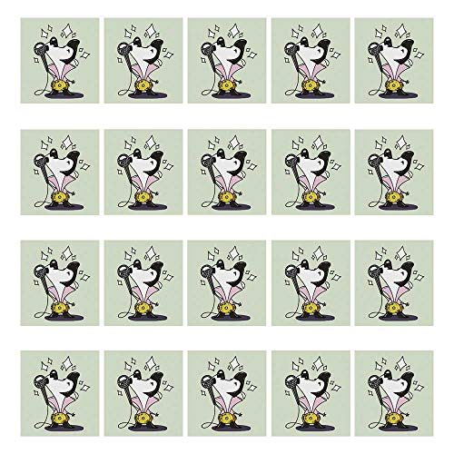 YOLIYANA Elvis Presley Decor Waterproof Ceramic Tile Stickers 20 Pieces,Cute Musician Cartoon Dog Dressed as Elvis Singing Doubles Competition for Home,3.9