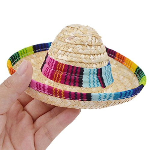 Wakeu Pet Supplies Small Dog Mexican Hat with Multicolor Trim Straw Sombrero Pet Cat Cap Costume (A)