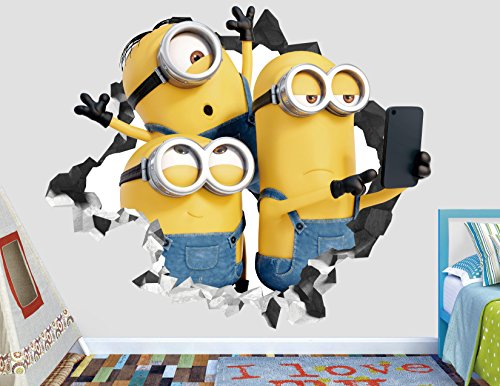 Minion Wall Decals (Minions Bob Kevin Stuart Wall Decal Smashed 3D Sticker Vinyl Decor Mural Movie Kids - Broken Wall - 3D Designs - AH127 (Giant (Wide 50