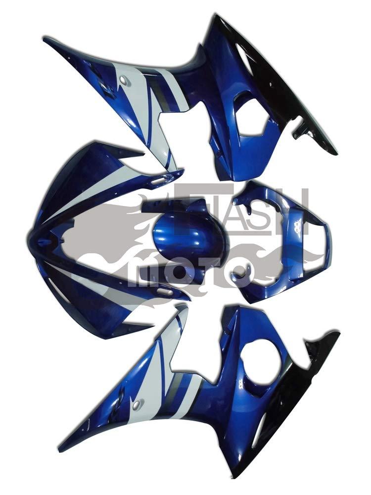 FlashMoto yamaha ヤマハ YZF-600 R6 2003 2004用フェアリング 塗装済 オートバイ用射出成型ABS樹脂ボディワークのフェアリングキットセット (ブルー,ブラック)   B07LF3LQ29