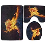 Bath Mat Set, Holy Flame Of Love 3 Piece Bathroom Mats Set Non-Slip Bathroom Rugs/Contour Mat/Toilet Cover