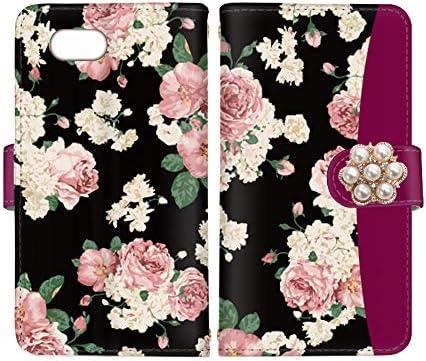 スマ通 Xperia Ace SO-02L 国内生産 カード スマホケース 手帳型 SONY ソニー エクスペリア エース 【C-パープル】 薔薇 デコ vc-058-deco