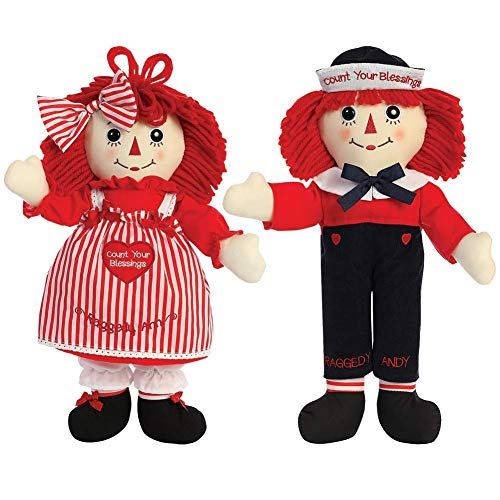 Set Andy Doll (Aurora World Raggedy Ann & Andy Blessings Soft Dolls Set)