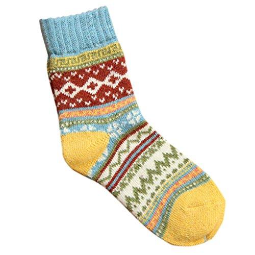 Sunfei Womens Cashmere Wool Thick Warm Socks Winter Fashion Striped Socks (Blue)