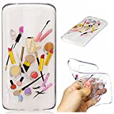Qiaogle Phone Case - Soft TPU Silicone Case Cover Back Skin for LG K7 / LG Tribute 5 / LG K8 (5.0 inch) - HC10 / Lip gloss + eyebrow pencil