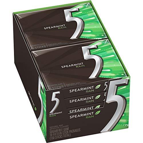 5 Gum Spearmint Rain Sugarfree Gum, 15 piece (10 pack)