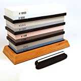 Shā-pu Whetstones - 4 Premium Knife Sharpening Stones with 2 Side Grits of 240/800, 600/1500, 1000/3000 & 5000/10000 Waterstone | Set includes, Non Slip Bamboo Base and Angle Guide