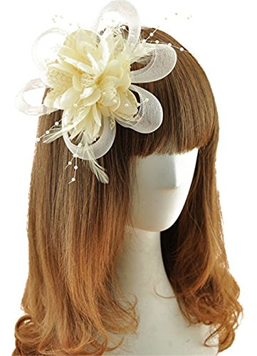[Coolr Fascinator Hair Clip Cocktail Headwear Flower Bridal Headpieces (Beige )] (Cute Gothic Girl Halloween Costumes)
