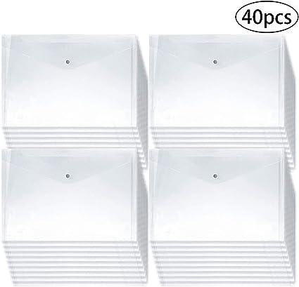 Clear Reusable Poly Envelope Waterproof File Folder Wit 30Pcs Plastic Envelopes