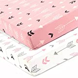 Stretchy Fitted Crib Sheets Set-Brolex 2 Pack Portable Crib Mattress Topper For Baby Girls Boys,Ultra Soft Jersey,Full Standard,Pink & White Arrow