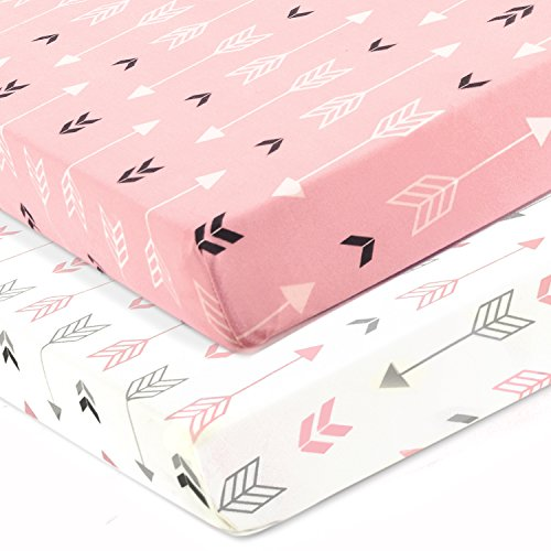 BROLEX Stretchy Fitted Crib Sheets Set 2 Pack Portable Crib Mattress Topper for Baby Girls Boys,Ultra Soft Jersey,Full Standard,Pink & White ()