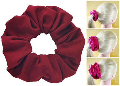 Premium Cotton Jersey Scrunchies 3 Sizes Many Colors Ponytail Holders Scrunchie King Made in the USA (Burg Jersey)