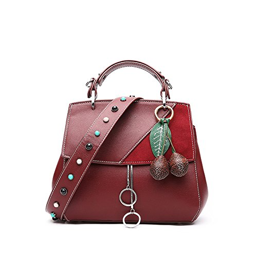 Leisure Bag Red FangYOU1314 Portable PU Color Red Messenger Shoulder Capacity Large Rivet TnOnqd