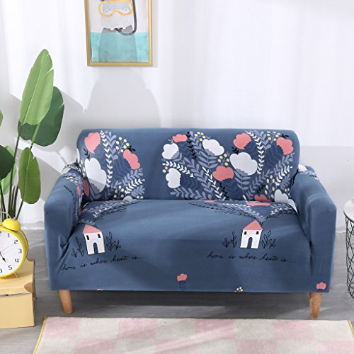 Four Seater - WATTA Stretch Elastic Sofa Slipcover 4 Seater Sofa Couch Polyester Spandex Cartoon Printing Fabric Sofa Protector (4 Seat Sofa, Sweet Home)